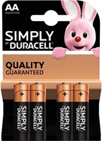 DURACELL SIMPLY ALKALINE AA/MN1500 BLISTER 4