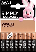 DURACELL SIMPLY ALKALINE AAA/MN2400 BLISTER 8