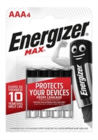 ENERGIZER MAX ALKALINE AAA/R03 BLISTER 4