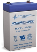 POWERSONIC 6V/2.9AH SLA  AGM PS628