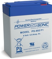 6V/8.0AH  POWERSONIC SLA  AGM BATT PS682