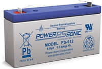 POWERSONIC 6V/1.3AH SLA  AGM BATT PS-612 FR