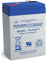 6V/4.5AH  POWERSONIC SLA  AGM BATT PS640
