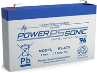 6V/7.0AH POWERSONIC SLA  AGM BATT PS670