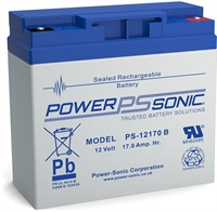 POWERSONIC 12V/17AH SLA  AGM PS12170 -VDS-