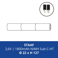 ACCUPACK PS NICD CS 3,6V/1800mAh STAAF FASTON 4,8MM