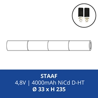 ACCUPACK PS NICD D 4,8V/4000mAh STAAF FASTON 4,8MM